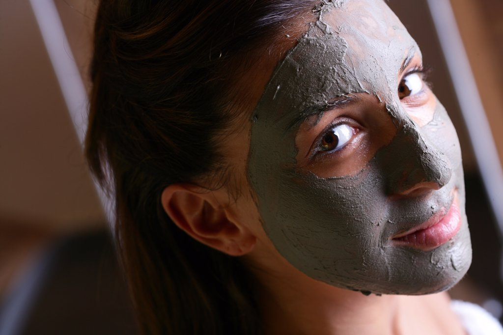 Wine therapy: woman with facial mask : Stock Photo