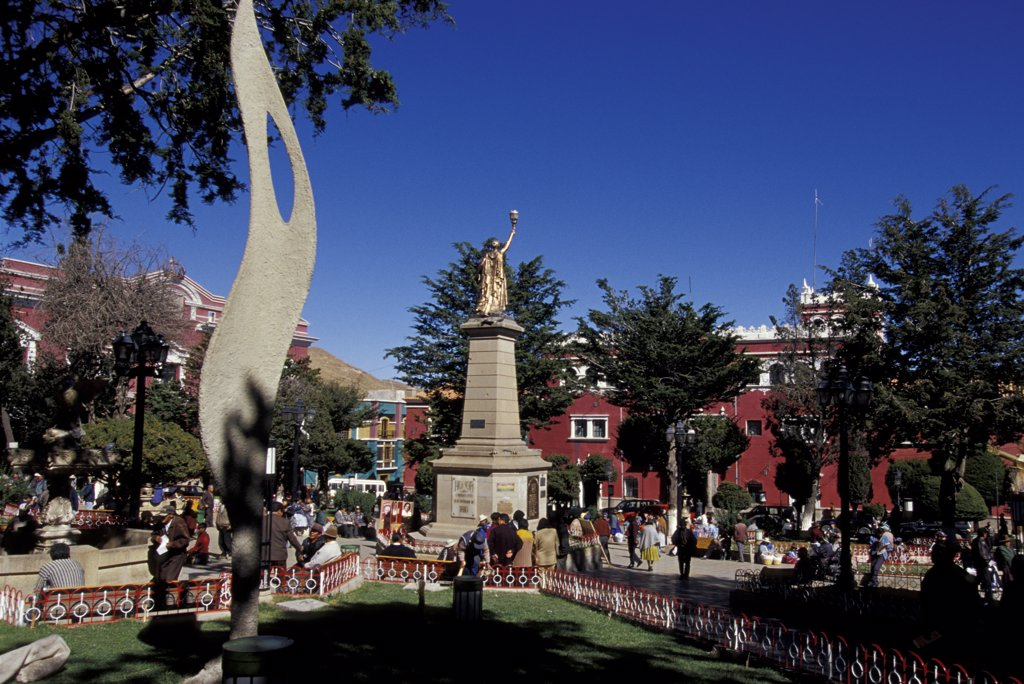 Bolivia, the main square in the town of Potosi, x November square : Stock Photo