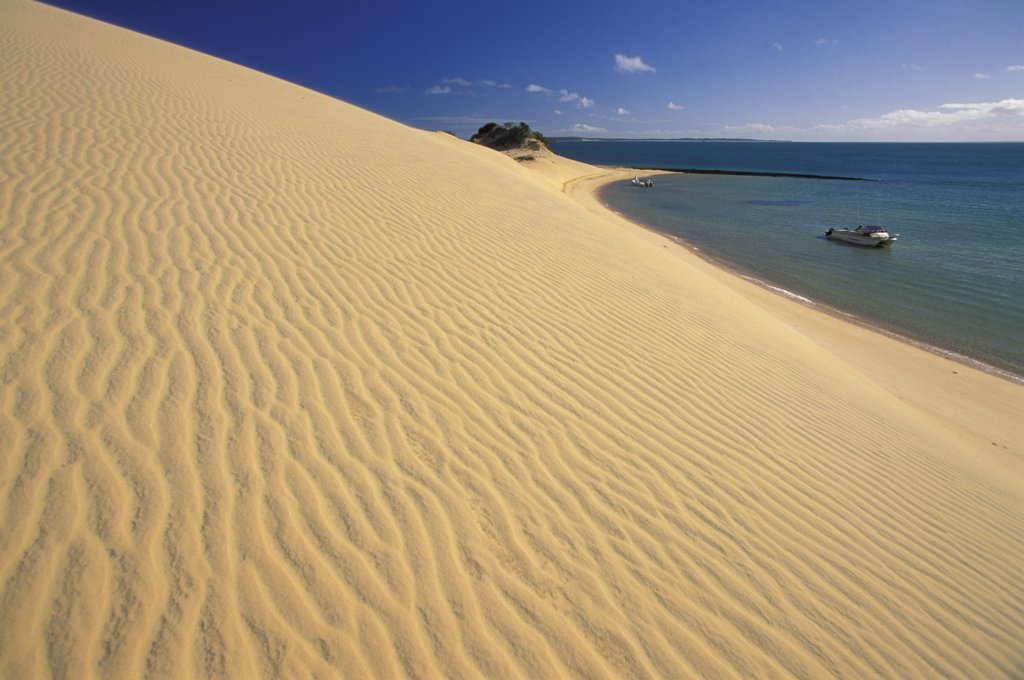 Africa, Mozambique, Benguerra island, sand dune and sea : Stock Photo