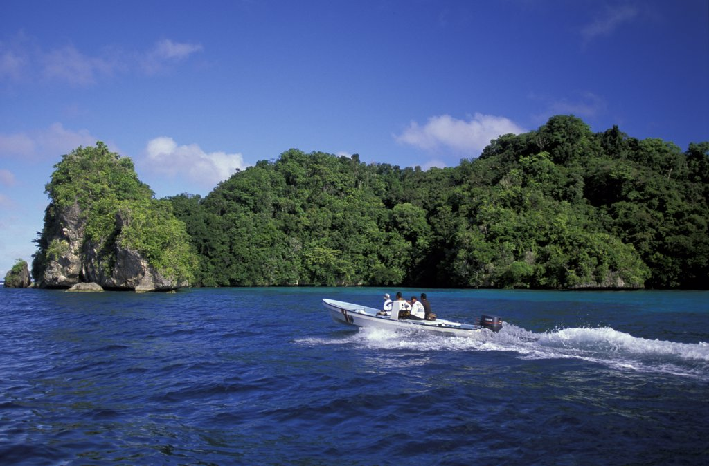 Micronesia, Palau boat speeding across sea : Stock Photo