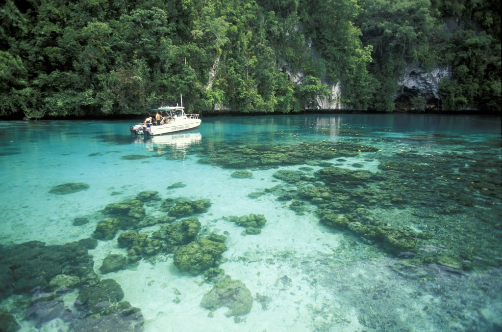 Stock Photo: 4292-61840 Micronesia, boat anchored in Palau islands