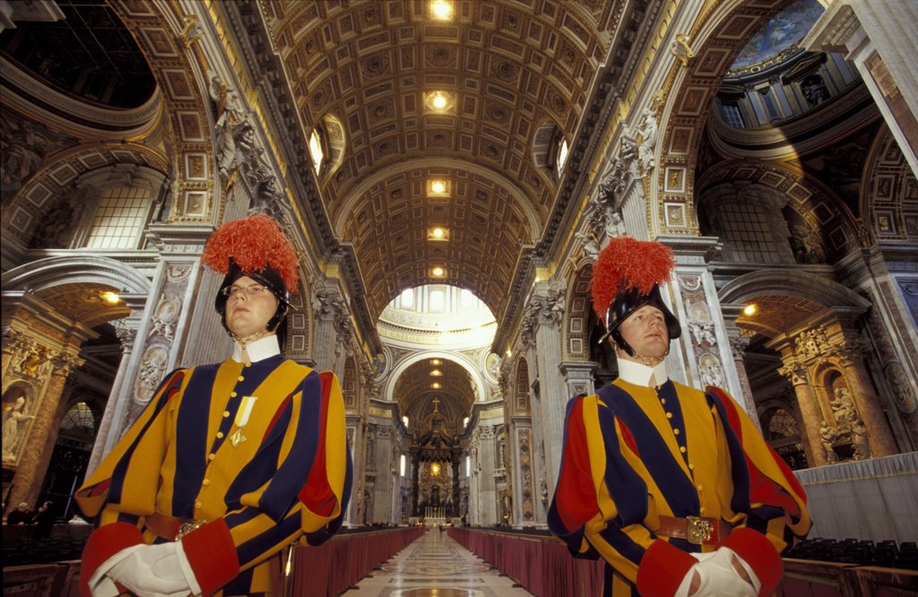 Italy, Lazio, Rome St Peter's Basilica, interior Swiss Guard : Stock Photo