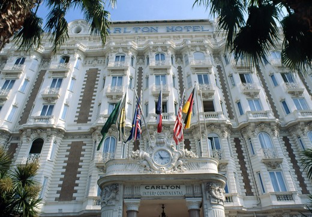 France, Cannes, Carlton hotel facade : Stock Photo