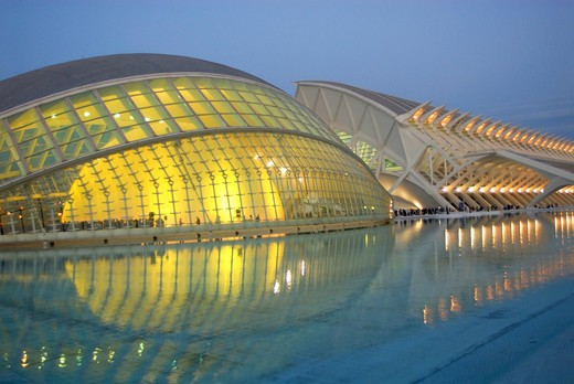 Spain, Valencia, City of Arts and science: the hemispheric and the museum of sciences Principe Filipe : Stock Photo