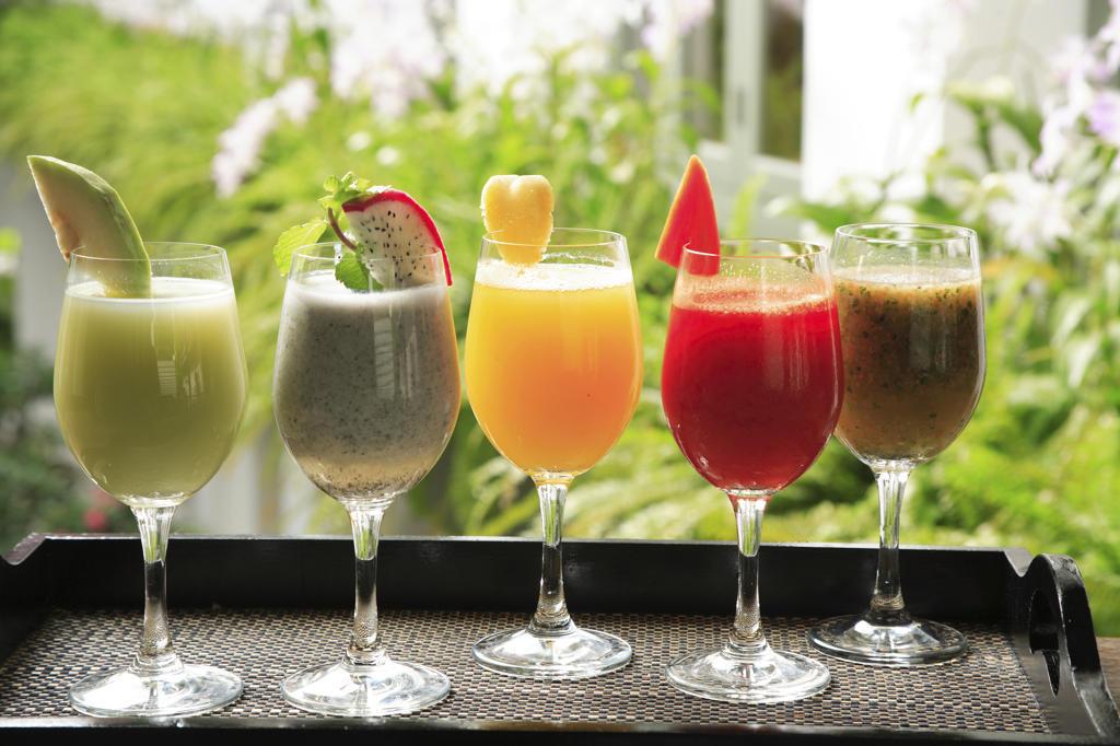 Stock Photo: 4292-6285 Spa Drinks at the Oriental Spa, Mandarin Oriental Hotel, Bangkok, Thailand