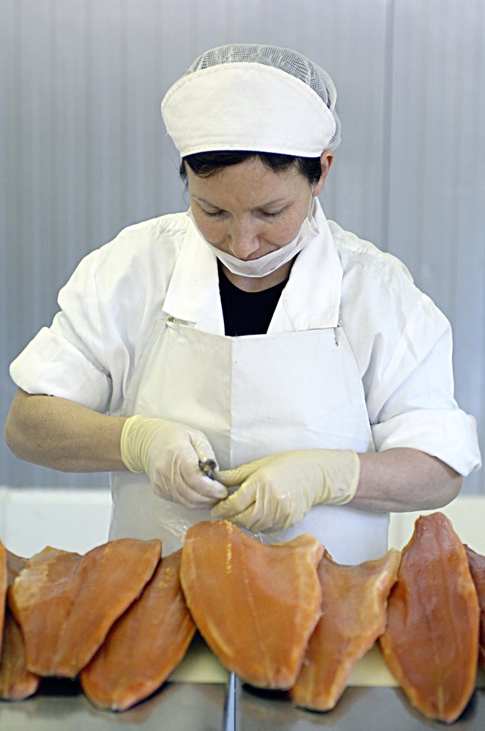Stock Photo: 4292-63644 The production process from live fish to pre-sliced smoked salmon