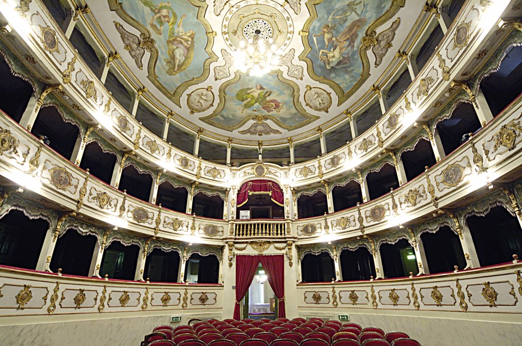 Italy, Emilia Romagna, Busseto, the interior of the Verdi theater : Stock Photo