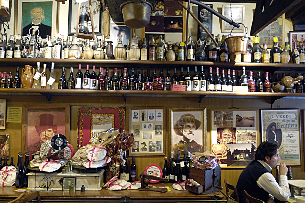 Stock Photo: 4292-63675 Italy, Emilia Romagna, Busseto. Salsamenteria storica e verdiana Baratta shop