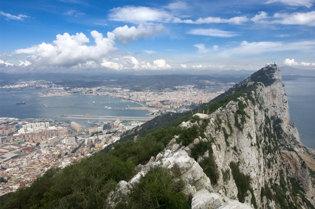Uk, Gibraltar aerial view of the harbour : Stock Photo