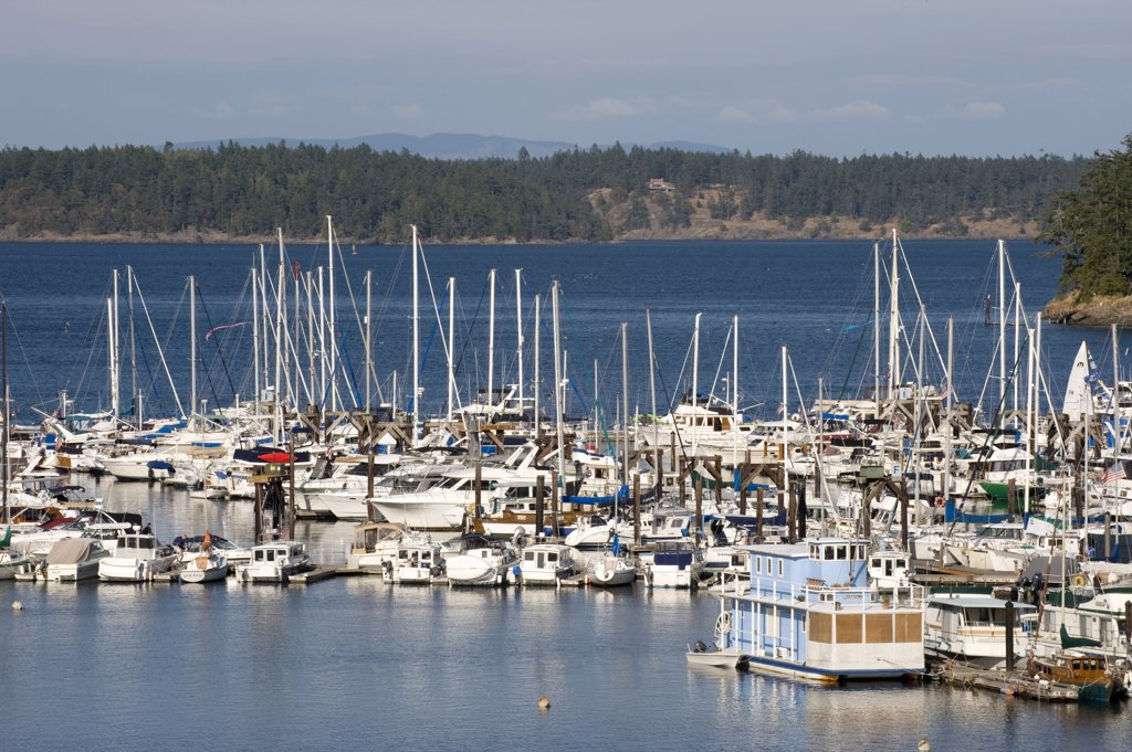 Stock Photo: 4292-64172 USA, Washington State, San Juan Island : boats at Friday Harbor