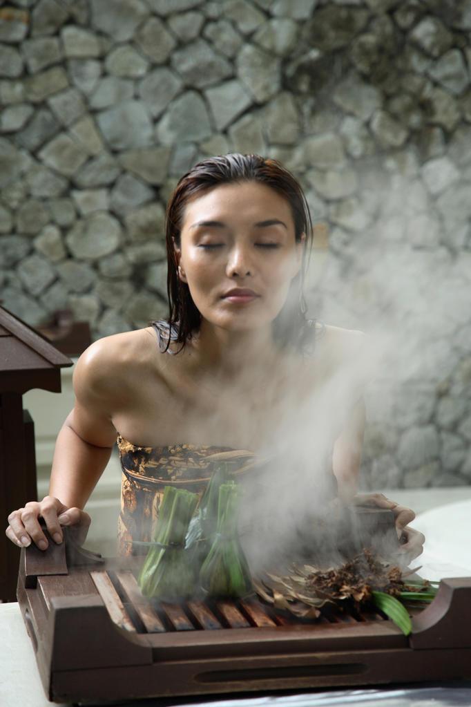 Stock Photo: 4292-6619 Malay Herbal Facial Steam at the Bath Houseat the Spa Village. Pangkor Laut Resort,Pangkor Laut, Malaysia