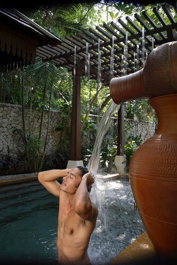 Stock Photo: 4292-6660 Bathhouse at the Spa Village at Pangkor Laut Resort in Pangkor Laut, Malaysia