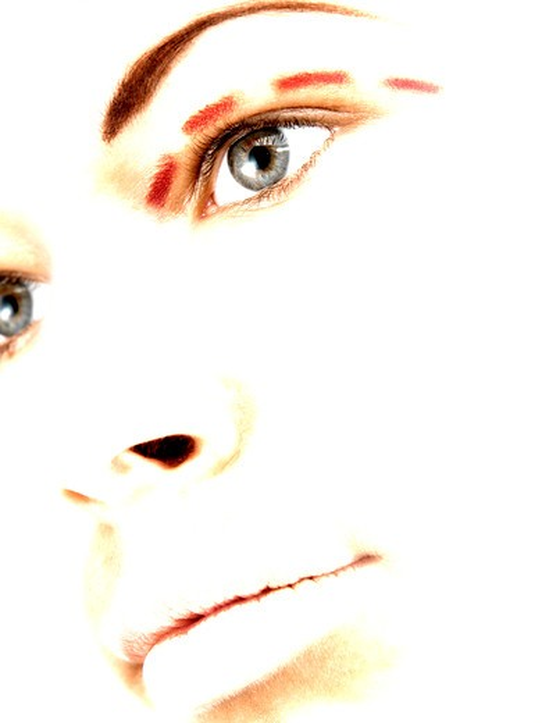Woman with markings on eye : Stock Photo