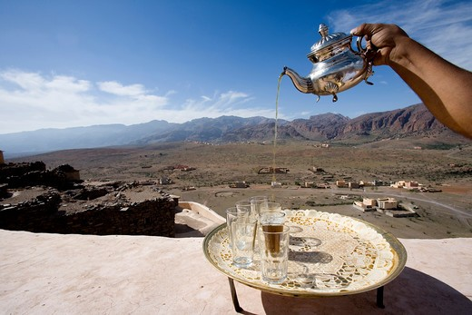 Morocco, Tizourgane,tea service : Stock Photo