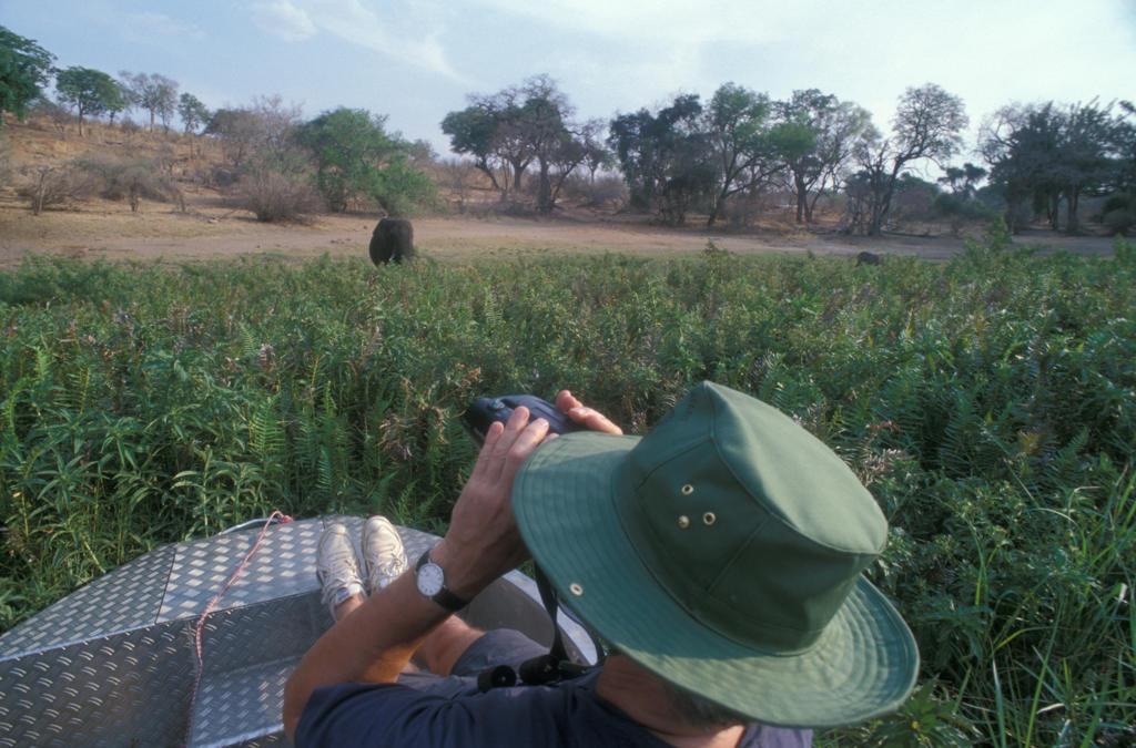 Botswana. Safari on boat on river Chobe : Stock Photo