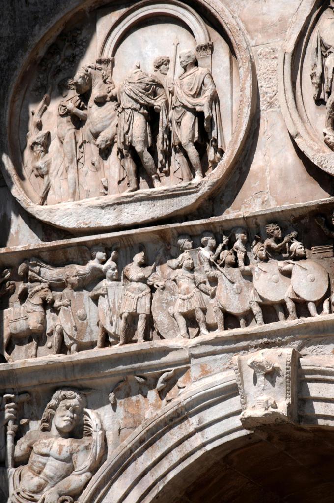 Italy, Lazio, Rome, Arch of Constantine, Detail. : Stock Photo