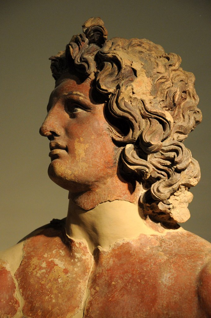 Italy, Lazio, Rome, Villa Giulia, the Etruscan Museum, Etruscan Art, Painted Terracotta Head. : Stock Photo