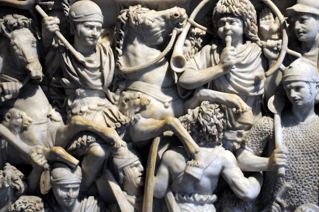 Stock Photo: 4292-70303 Italy, Lazio, Rome, Palazzo Altemps, Roman National Museum, Great Ludovisi, Marble Sarcophagus, Bas-Relief of Romans vs Barbarians, 3rd century.