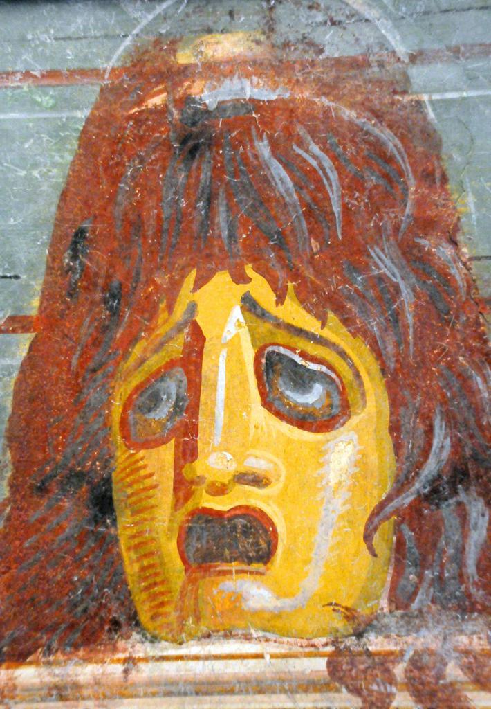 Italy, Lazio, Rome, Massimo Palace National Museum, Pompeian Red Exhibition, Fresco, Tragic Mask, Vesuvian Area. : Stock Photo