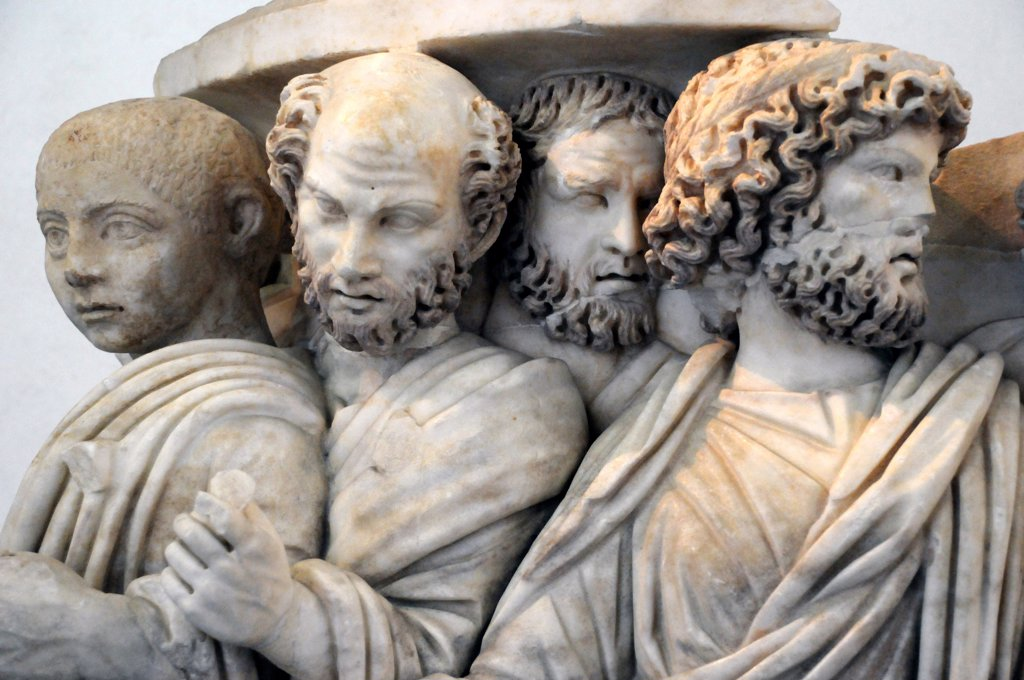 Italy, Lazio, Rome, Massimo Palace National Museum, Marble Sarcophagus, Bas Relief. : Stock Photo