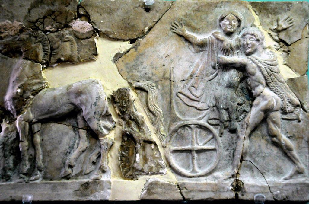 Stock Photo: 4292-70492 Italy, Calabria, Reggio Calabria, National Museum, Magna Grecia, Pinax From Mannella Sanctuary in Locri Epizefiri, Terracotta Votive Small Plank, Afrodite and Hermes.