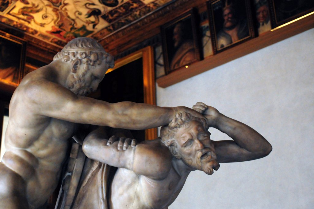 Stock Photo: 4292-70522 Italy, Tuscany, Florence, Galleria degli Uffizi, Eastwards Corridor, Hercules and the Centaurus, Giovan Battista Caccini Artists.