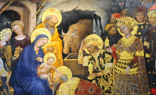 Stock Photo: 4292-70523 Italy, Florence, Galleria degli Uffizi, Adoration of the Magi, Gentile da Fabriano Painter, Gothic Art.