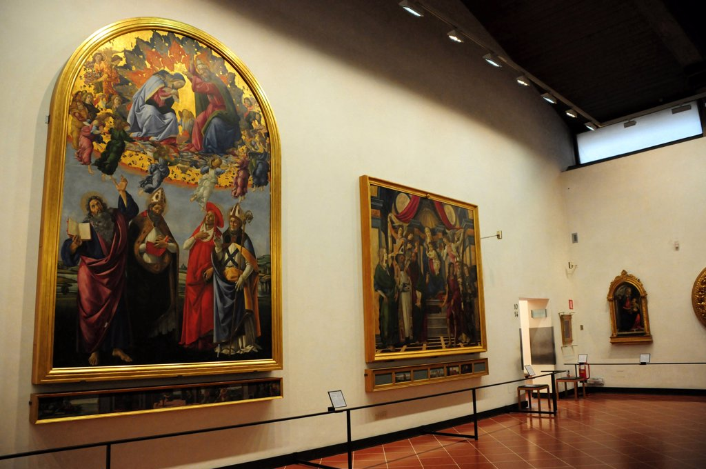 Stock Photo: 4292-70524 Italy, Florence, Galleria degli Uffizi, Botticelli's Hall, Virgin's Coronation, Sandro Botticelli Painter.