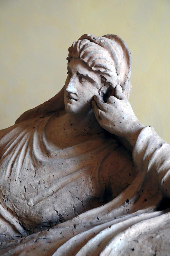 Italy, Lazio, Rome, Capitoline Museum, Palazzo dei Conservatori, Castellani collection, terracotta etruscan sarcophagus : Stock Photo
