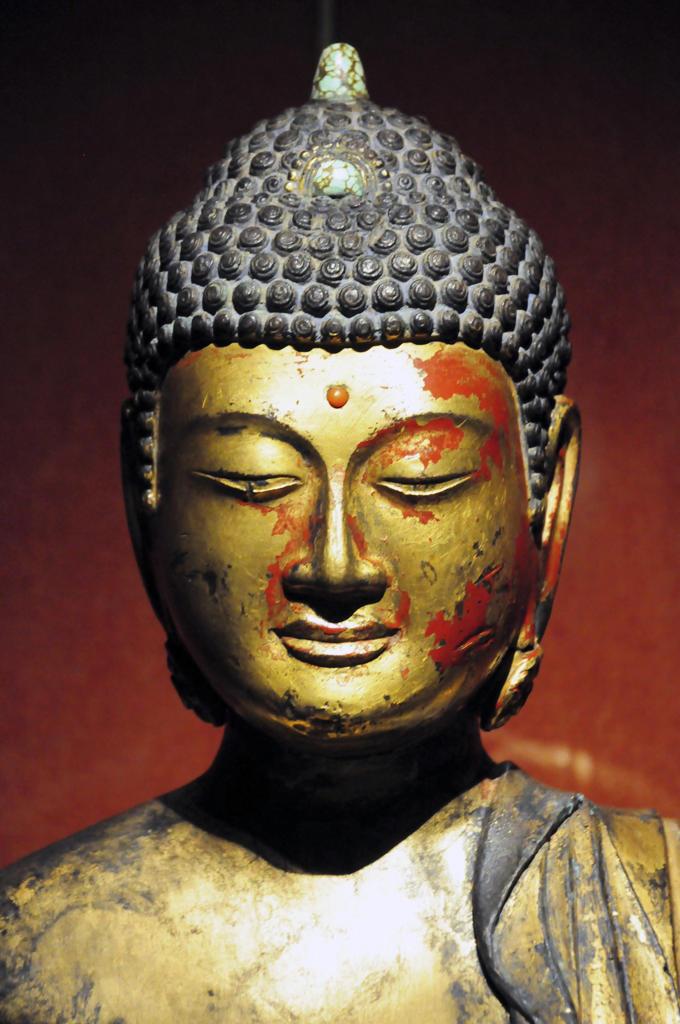 Asia, China, Shanghai, Shanghai Museum, Bodhisattva, gold painted wood : Stock Photo