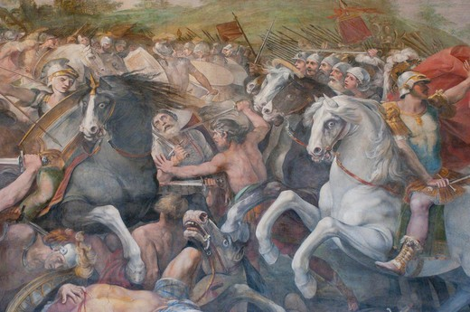 Italy, Rome, Capitoline Museum, Palazzo dei Conservatori, Orazi and Curiazi Hall, fresco Battle against The Veients and The Fidenatis (A.D. 1598-1601), Giuseppe Cesari called Cavalier d'Arpino painter : Stock Photo