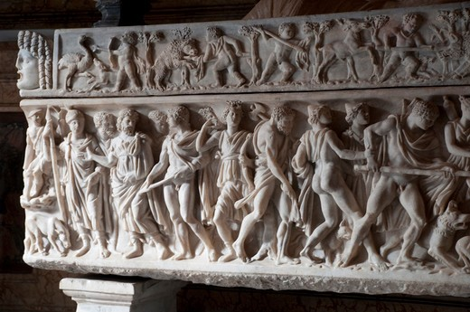 Stock Photo: 4292-70736 Italy, Rome, Capitoline Museum, Palazzo Nuovo, marble sarcophagus with scenes of hunts to the Calydonian boar, end of 2nd century A.D.