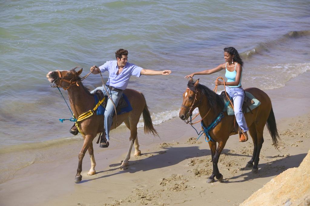 Couple riding horses along beach : Stock Photo