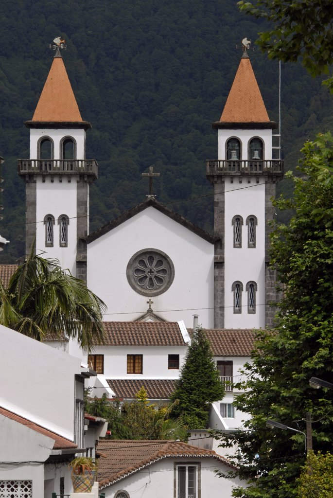 Portugal, Azores, Sao Miguel Island, Furnas, church : Stock Photo