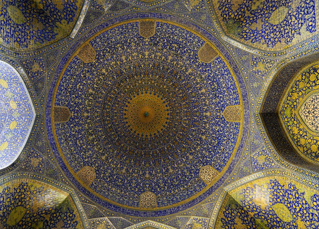 Iran, Isfahan, Shah Mosque, Ceiling, UNESCO World Heritage list : Stock Photo
