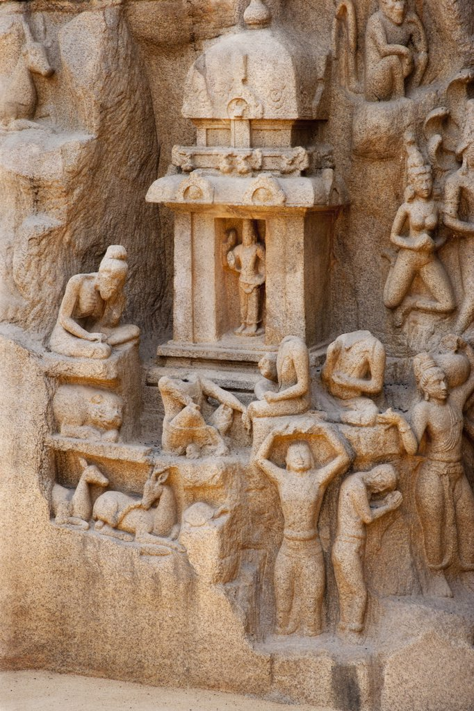 Stock Photo: 4292-79586 India, Tamil Nadu, Mahabalipuram, UNESCO world heritage,  Details of Pallava era rock carving of Arjunas Penance featuring the waters of the Ganges