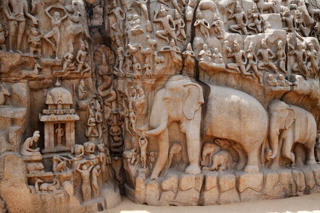 Stock Photo: 4292-79587 India, Tamil Nadu, Mahabalipuram, UNESCO world heritage, Details of Pallava era rock carving of Arjunas Penance featuring the waters of the Ganges
