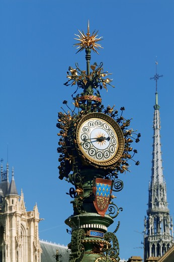 France, Picardy, Amiens, clock : Stock Photo