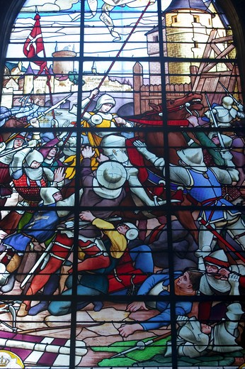 France, Picardy, Compiegne, Saint Antoine church window representing the capture of Jeanne D'Arc : Stock Photo