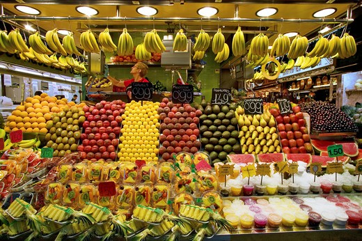 Stock Photo: 4292-83949 Spain,Catalonia, Barcelona, Ramblas, La Boqueria Market