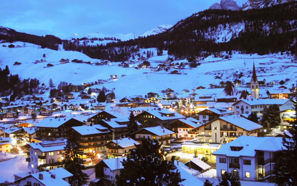 Italy, Trentino Alto Adige,Val Gardena, Selva Val Gardena at dusk : Stock Photo
