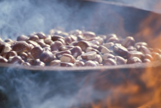 Stock Photo: 4292-89927 Chestnut cooking on fire