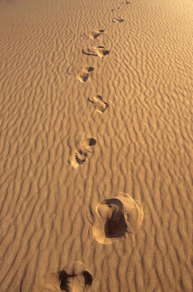 Stock Photo: 4292-90584 Human footprints on sand dune