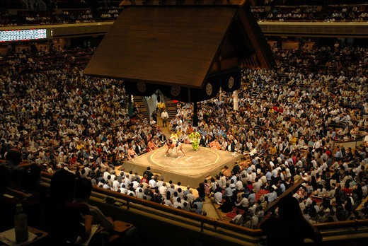 Stock Photo: 4292-91010 Japan, Tokyo, Grand Taikai Sumo Wrestling Tournament at Kokugikan Hall Stadium