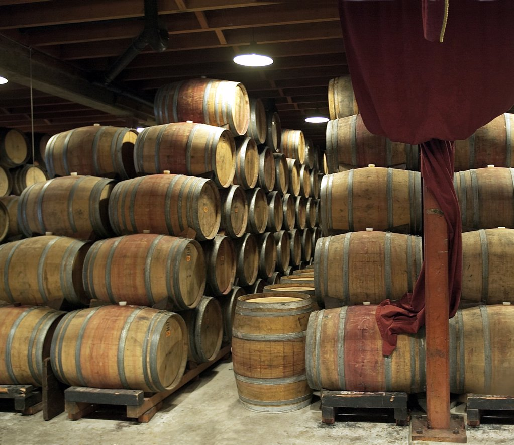 Stock Photo: 4292-91244 USA, California, Sonoma area vineyards, area Napa Valley, wooden barrels in a wine cellar