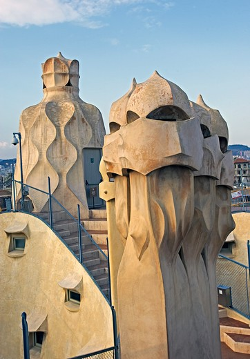 Stock Photo: 4292-91367 Spain, Catalonia, Barcelona, La Pedrera, Antonio Gaudi's, Casa Mila,