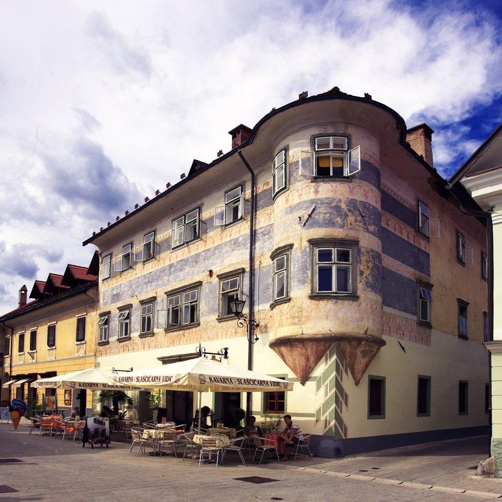 Slovenia, Radovljica, cafe : Stock Photo