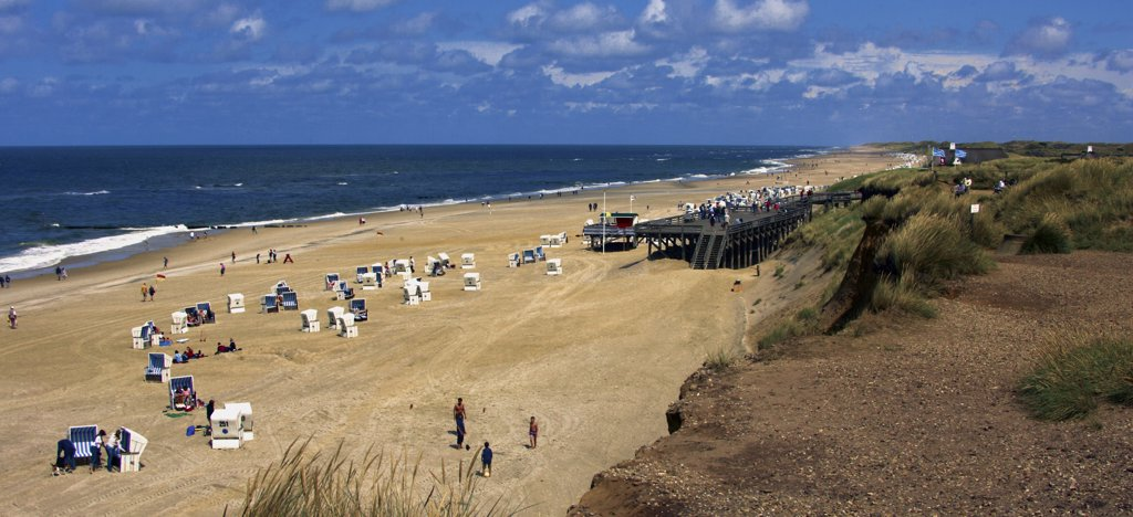 Germany, North Sea, Schleswig-Holstein, Sylt island: People on a beach during the holiday season : Stock Photo
