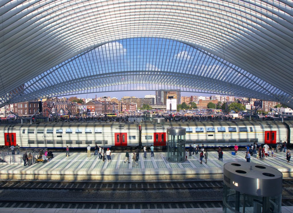 Stock Photo: 4292-92638 Belgiun, Liege, Guillemins Railway Station, Santiago Calatrava Architect