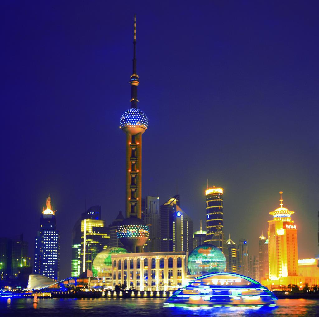 China, Shanghai, Pudong view fron the Bund, Huangpu river : Stock Photo